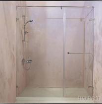 一字两片式强化玻璃无框淋浴拉门