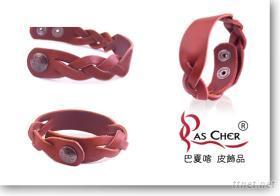 六條麻花編織皮手環 (M)