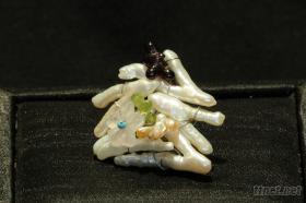 曼陀羅華系列∼天然變形珍珠手工戒指