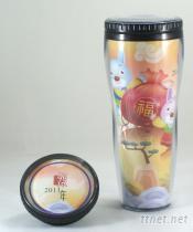 YS-750TM 广告赠品杯, 随手杯, 双层杯, 环保杯, 赠品杯, 广告杯