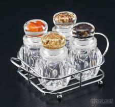 4瓶調味罐組+鐵架, 胡椒罐, 灑鹽罐