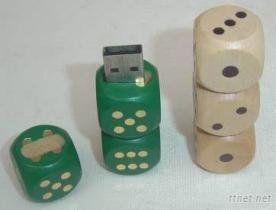 環保木製骰子經典U盤, 隨身碟, USB