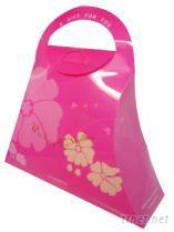粉紅塑膠手提禮盒