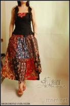 枝牌系列純棉田園拼布裙+純棉繡片吊帶衫