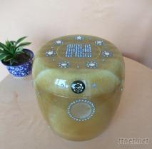 七寶米黃玉骨灰罐