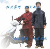 精品提花網格壓花型PU塗層休閒套裝雨衣