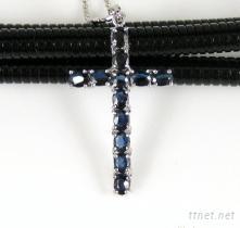 水晶飾品基督教飾品S925純銀天然藍寶石十字架吊墜
