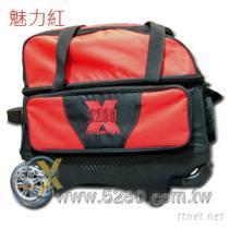 5280豪華拉桿式保齡球雙球袋-魅力紅