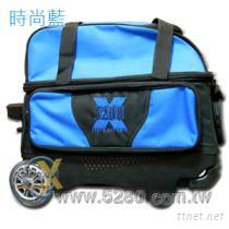 5280豪華拉桿式保齡球雙球袋-時尚藍
