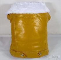 白毛领黄色皮衣,宠物服装,狗狗服装