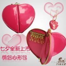 廠家供應高檔漆皮情侶心形包  鑰匙包、零錢包