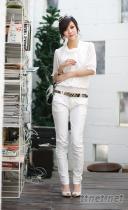 6002 韓版 帥氣 修身   顯瘦版 白色小腳鉛筆褲