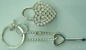 高档镶水钻锁装饰锁