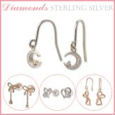 鑲鑽純銀耳環