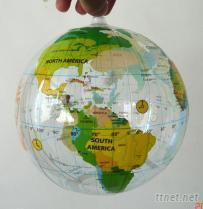 pvc透明吹氣地球沙灘球