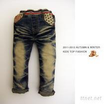 口袋星星刷色牛仔裤
