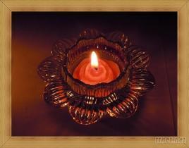 無煙環保鐵殼蠟燭 + 蓮花晶漾玻璃燭臺