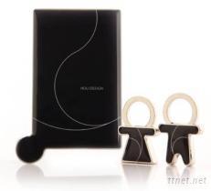 方型不鏽鋼化妝鏡 +情侶鑰匙釦