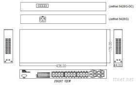 JetNet 5428G(-DC/-2G-2FX) 24+4G機架式網管型工業環網交換器
