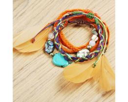 Feather & Bead Bracelet Set