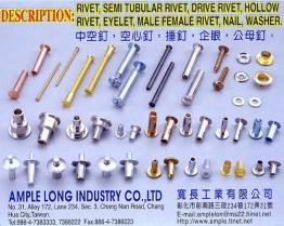 Rivet, Semi Tubular Rivet, Shoulder Rivet, Drive Rivet, Male Female Screw, Male Female Rivet, Hollow Rivet
