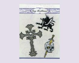 Kruis & het Schedel Geborduurde Pak van Stickers