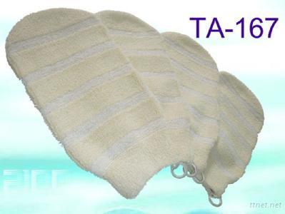 TA-0167 Striped Cotton Exfoliating Mitt