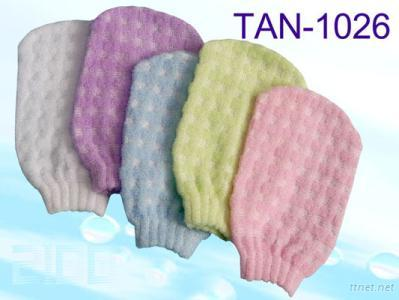 Tan-1026 Embossed Checked Mitt with Solid Color