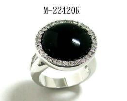 Black onyx and Swarovski crystal Ring