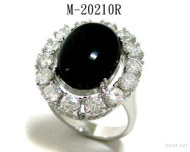 Black Onyx and Clear CZ Ring