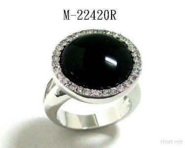 Black onyx and Swarovski crystal Ring