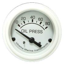 Marine White Oil Pressure Gauges, 52Mm