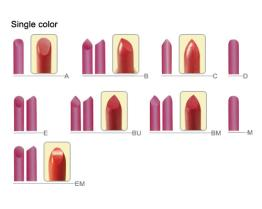Tip-Shapes Reference Lipstick Moulds