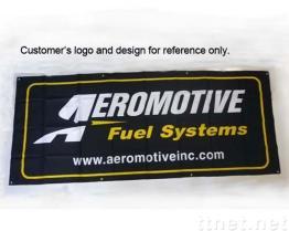 Adverterend Banner - met het Hangen van het Oogje van het Metaal