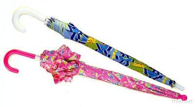 Children Long Automatic Umbrella with Ruffle Edge