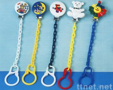 Soother chain metal clip