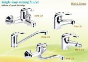 Single loop mixing faucet