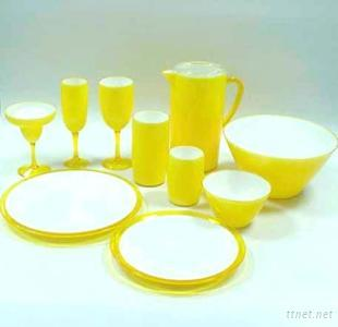 Double Wall Color Base Dinnerware Set