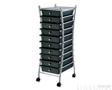 10 Tier Storage Rolling Cart, PP Black Drawers