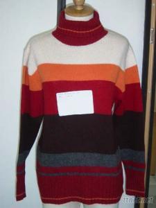 Ladies Turtle Neck Stripe Sweater