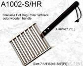 S/S Hot Dog Roller w/Black Wooden Handle