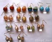 Earring w/ Flat Glass Beads
