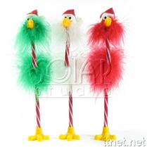 Christmas Flamingo Feather Pen