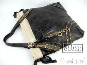 Lady Desinger Black Goatskin Leather Handbag