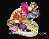18K Gold Ring with Natural Multi-stones