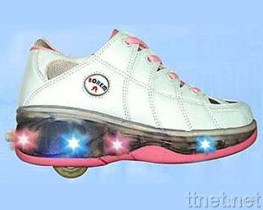 One Wheel Roller Shoes with Flashing Sole
