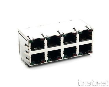 RJ45 2*4 Port with LED's and Panel Ground