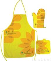 Kitchen sets apron oven mitten pot holder table runner tablemat napkin cushion bread bag basket