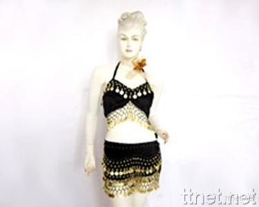 Belly Dance Costume, Coin Bras, Hip Scarf