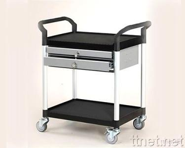 3 Shelves Tool Trolley w/Two Drawers